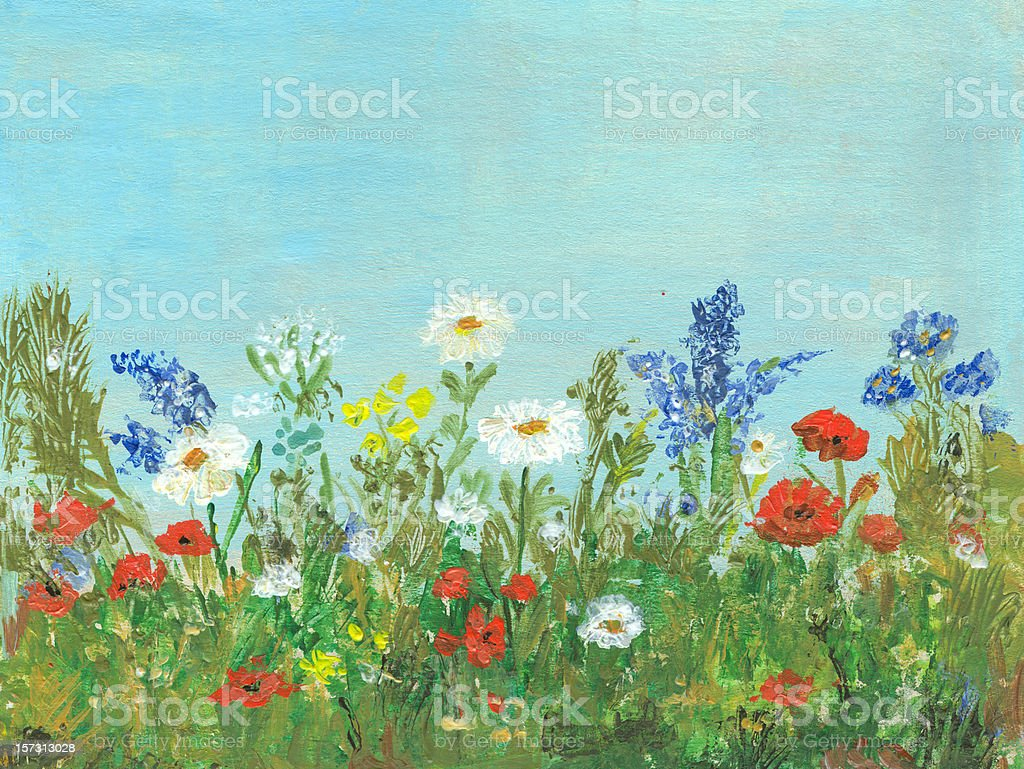 Oil painted wild multicolored flowers in a sunny spring day vector art illustration