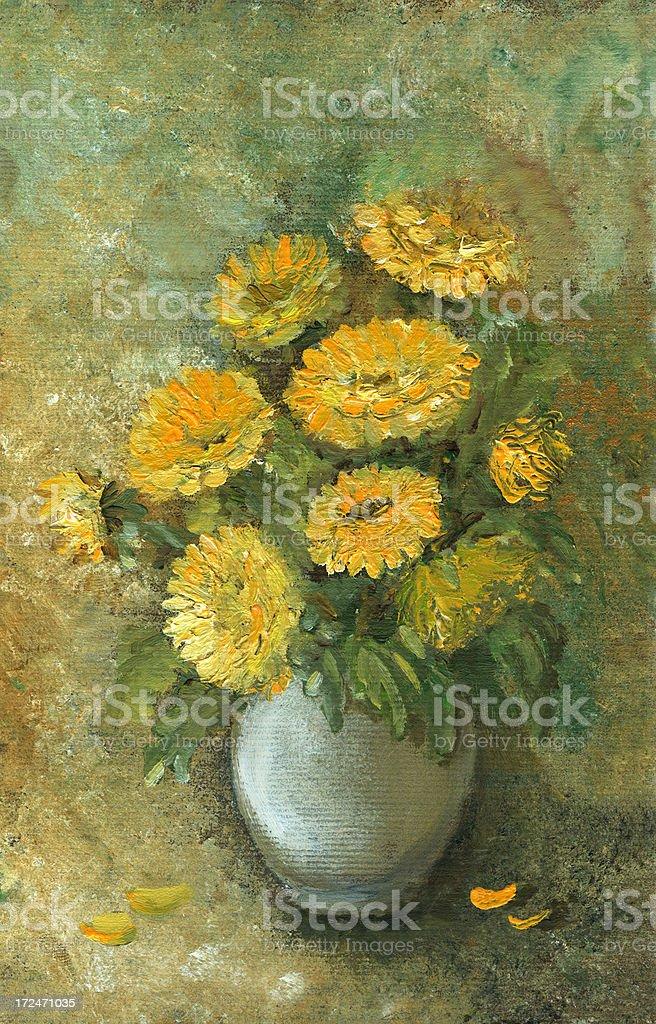 Oil painted yellow flowera arrangement royalty-free stock vector art