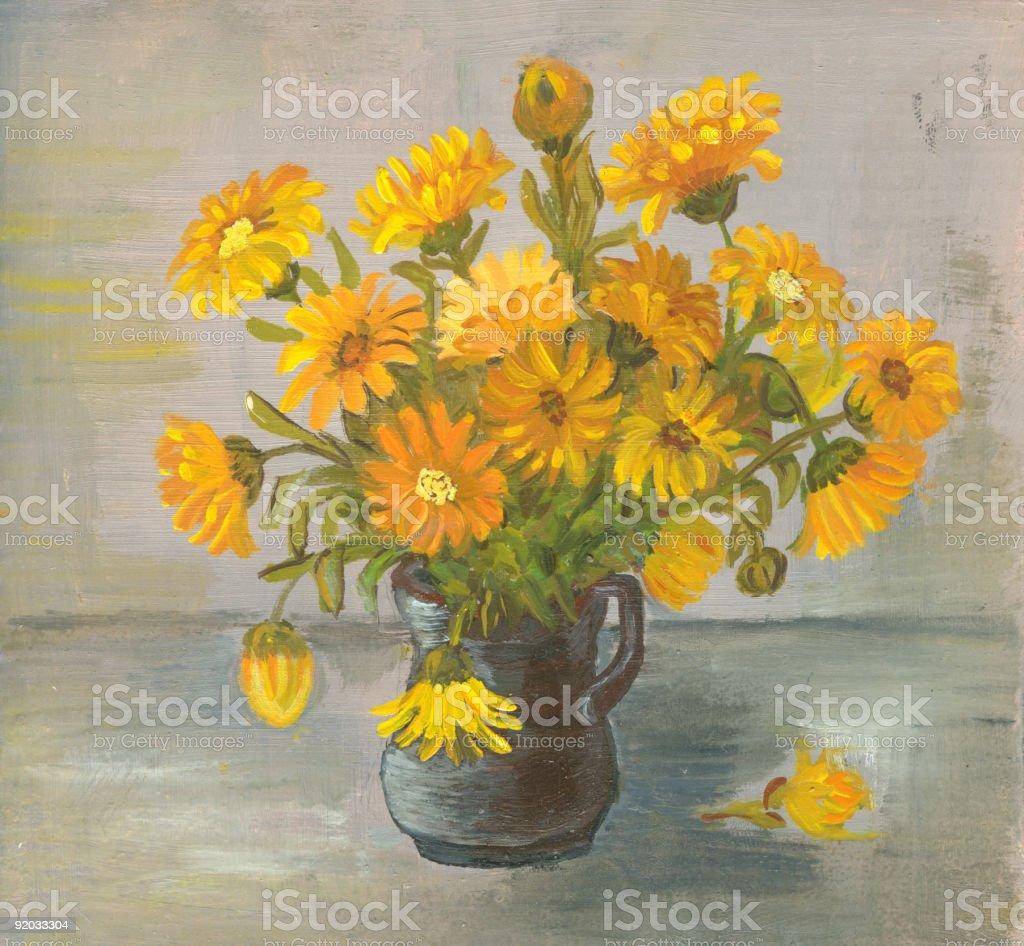 Oil painted yellow flowers arrangement in ceramic black vase. vector art illustration