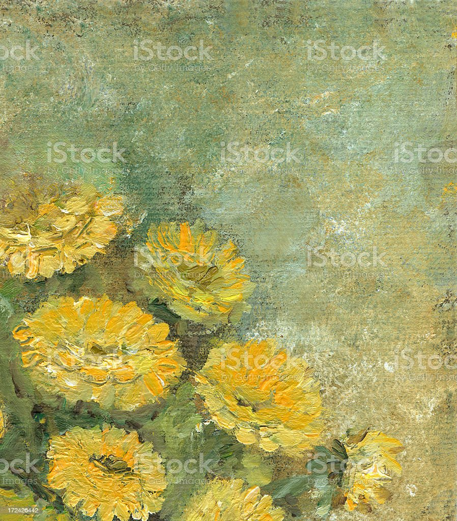 Oil painted yellow flowers frame with copyspace royalty-free stock vector art