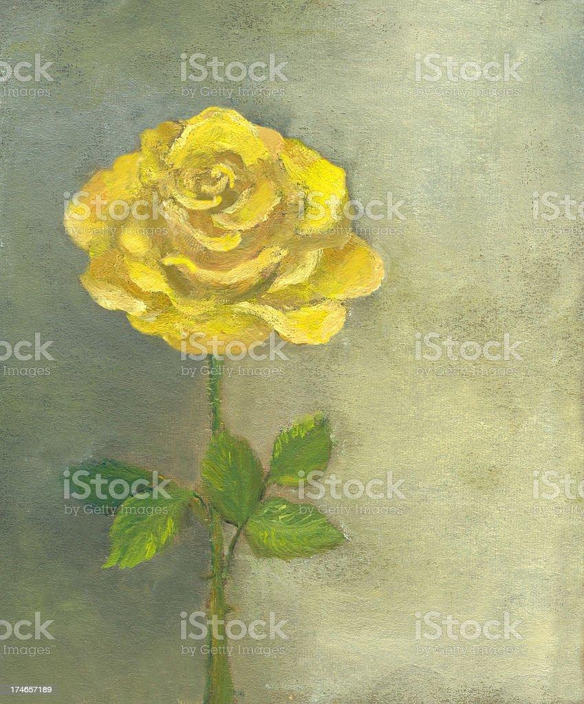 Öl gemalt Gelbe Rose auf grauem Hintergrund. Lizenzfreies vektor illustration