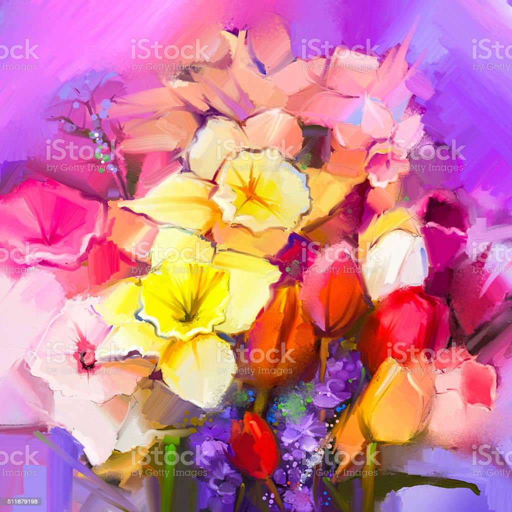 Oil painting a bouquet of daffodil and tulip flowers vector art illustration