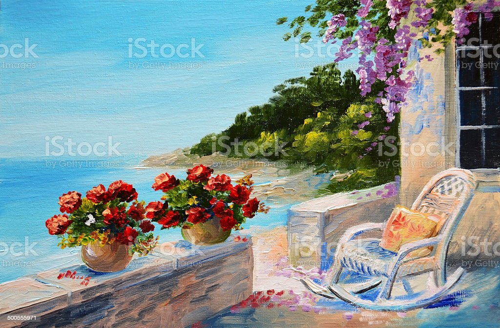 oil painting - balcony near the sea vector art illustration