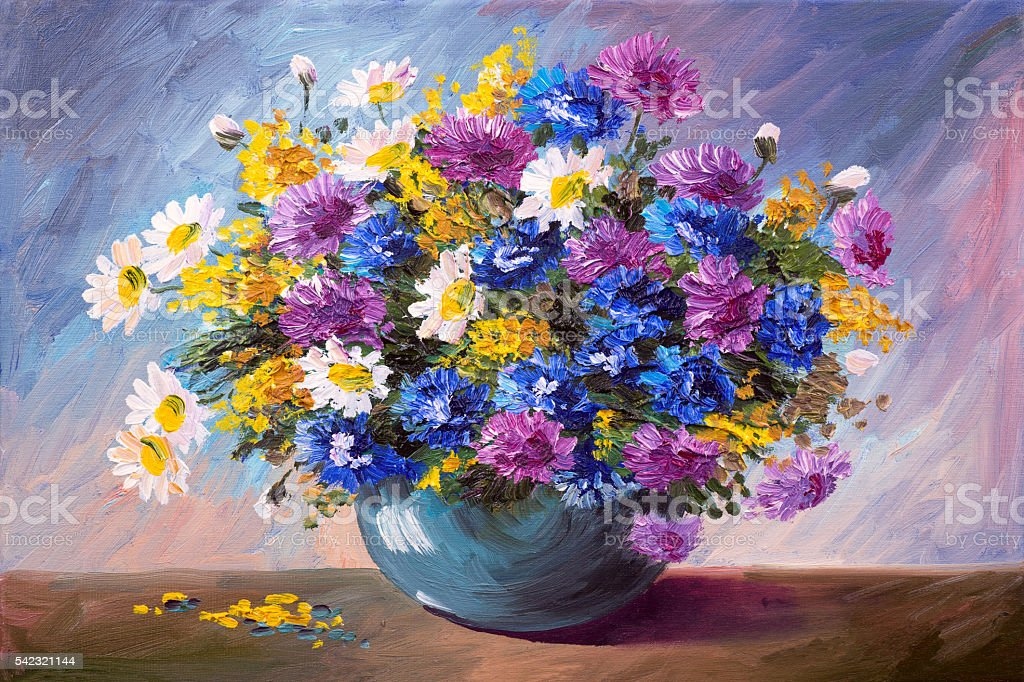oil painting - bouquet of wildflowers stock photo