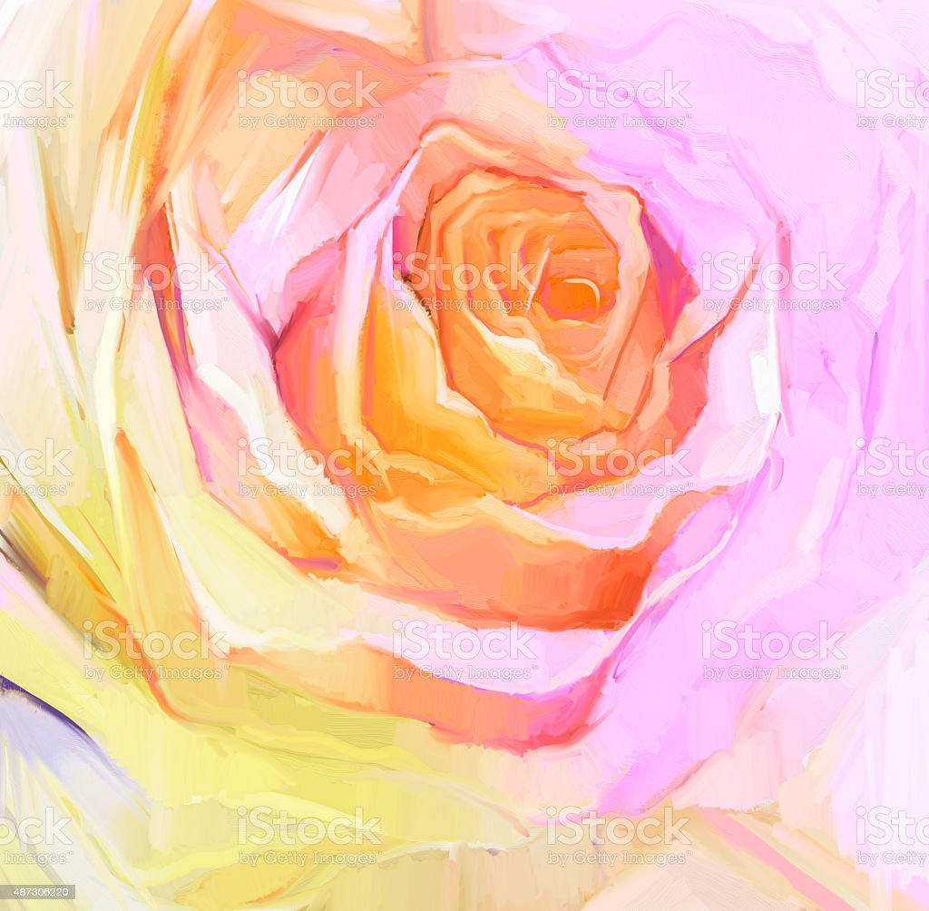 Oil Painting Close up of white rose vector art illustration