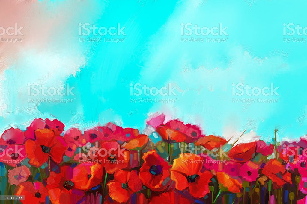 Oil painting Colorful red poppy flower in the meadows vector art illustration
