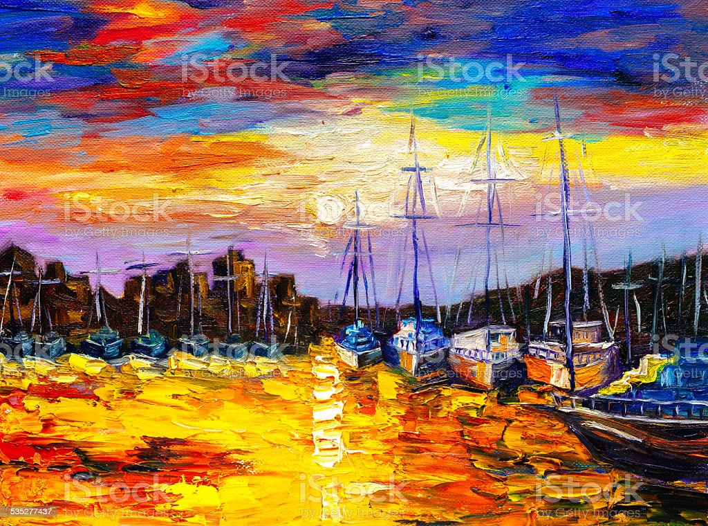 Oil Painting - Fishing Village vector art illustration