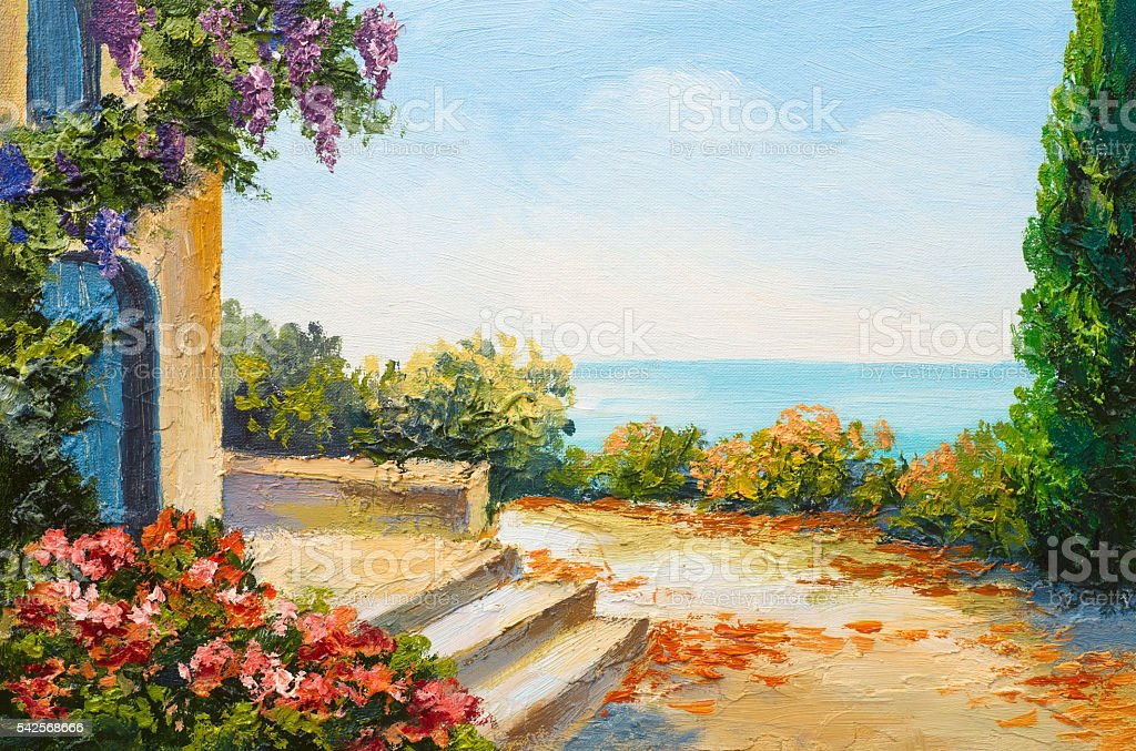 oil painting - house near the sea, colorful flowers, summer vector art illustration