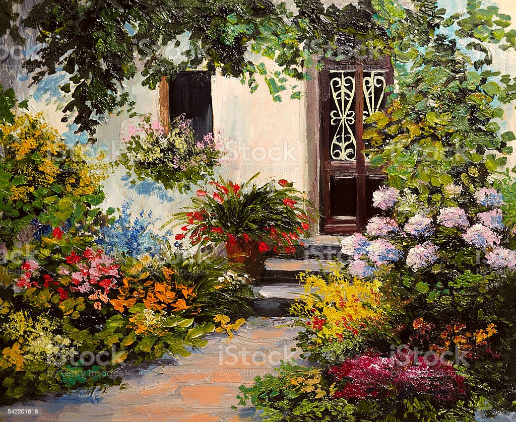 oil painting - house with patio, colorful watercolor stock photo