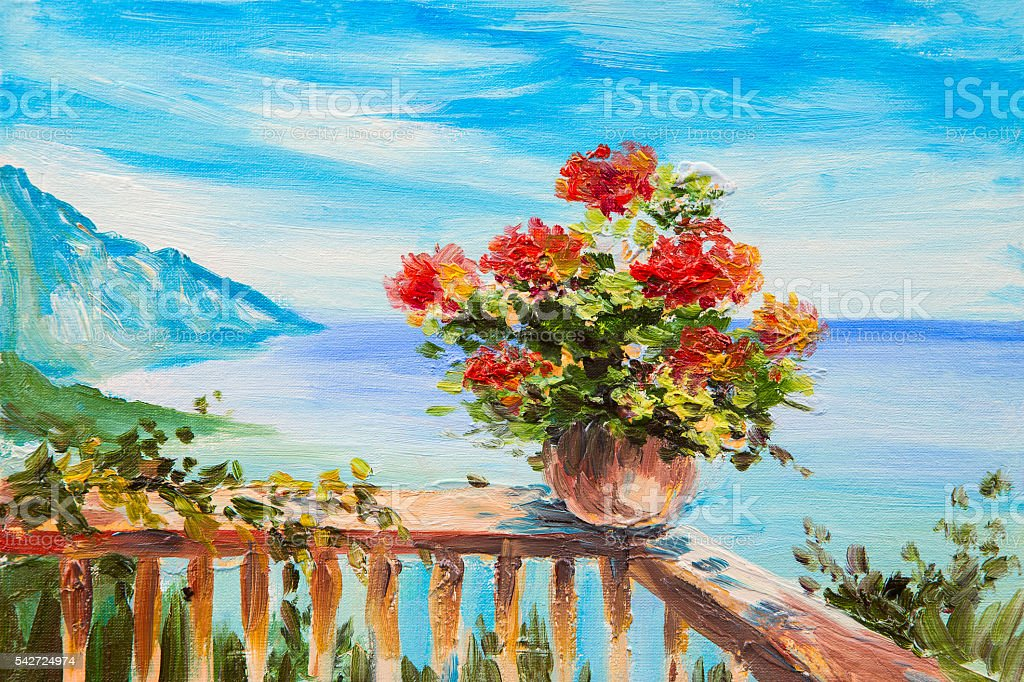 Oil painting landscape - bouquet of flowers in the background vector art illustration