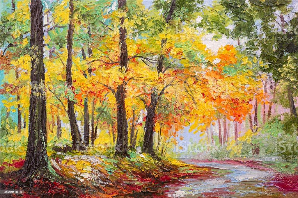 Oil painting landscape - colorful autumn forest vector art illustration