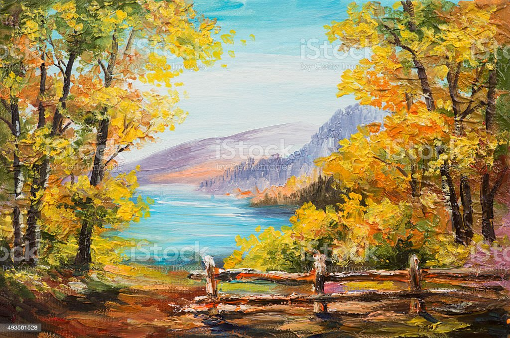Oil painting landscape - colorful autumn forest, mountain lake vector art illustration