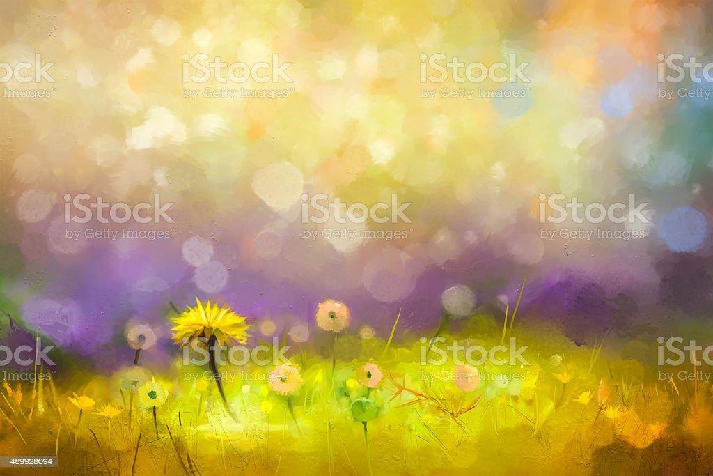 Oil painting nature grass flowers- yellow dandelions vector art illustration