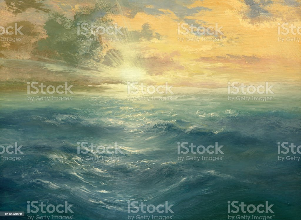 Oil painting of a sunset over the ocean vector art illustration