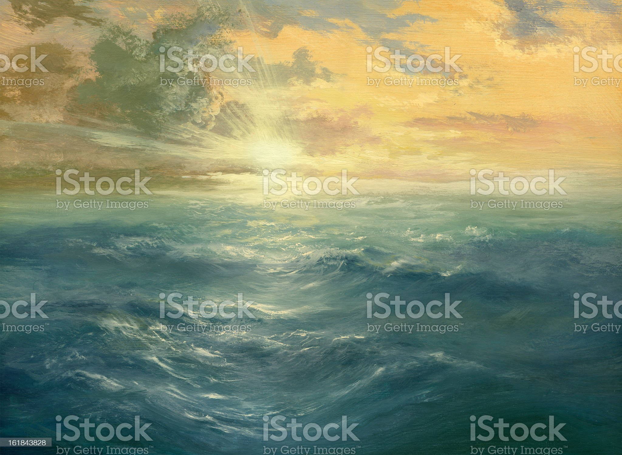 Oil painting of a sunset over the ocean royalty-free stock vector art