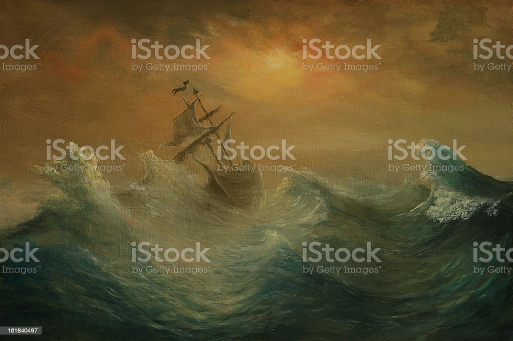 Oil painting of a wooden sailing ship on a stormy sea vector art illustration