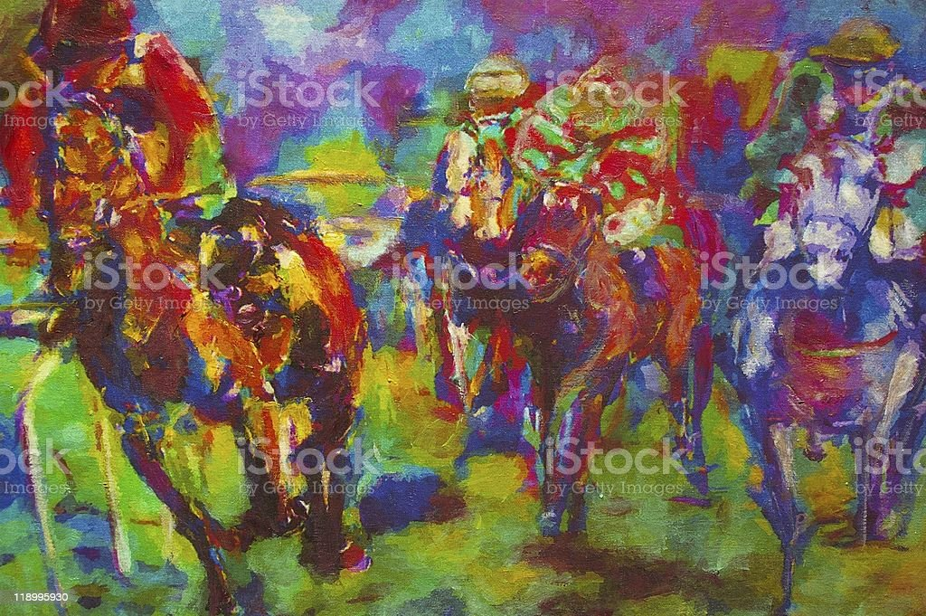 Oil painting of equestrian race vector art illustration