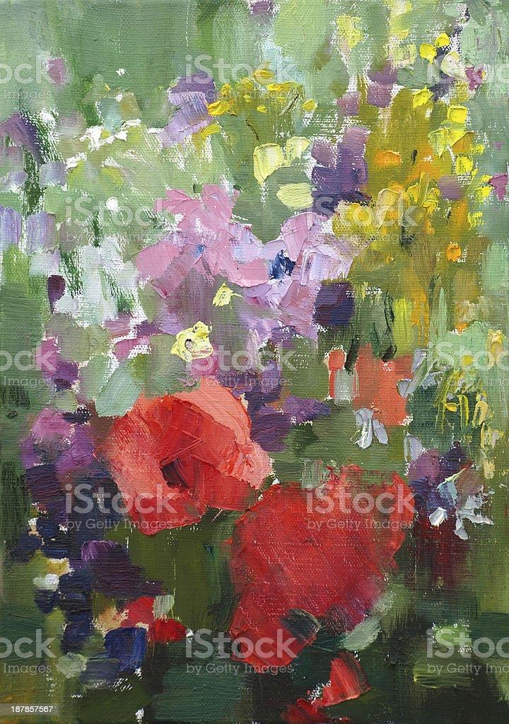 Oil painting of flowers. vector art illustration