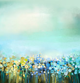 Oil painting of flowers plant. Dandelion flower in fields.