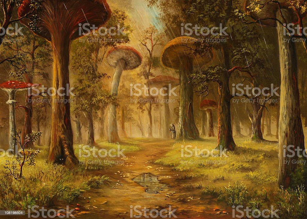 Oil Painting of Mushroom Forest During Rain vector art illustration