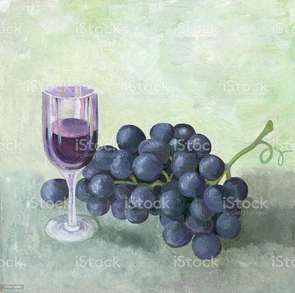 Ölgemälde von roten Wein Trauben Lizenzfreies vektor illustration