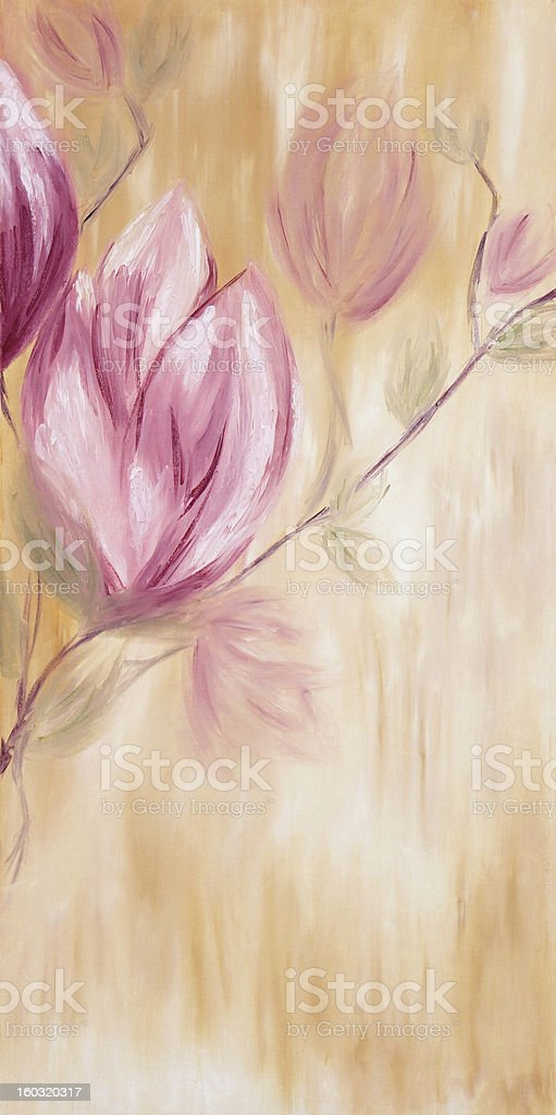 Oil painting of spring magnolia flowers royalty-free stock vector art