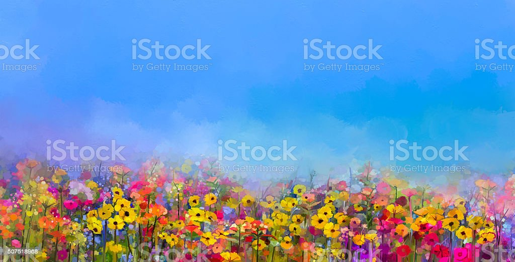 Oil painting of summer-spring flowers. Cornflower, daisy flower vector art illustration