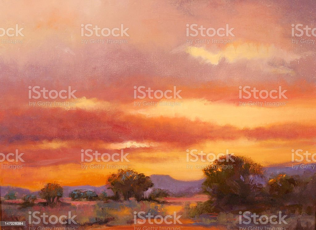 Oil Painting of Sunset over Southwest Oklahoma royalty-free stock vector art