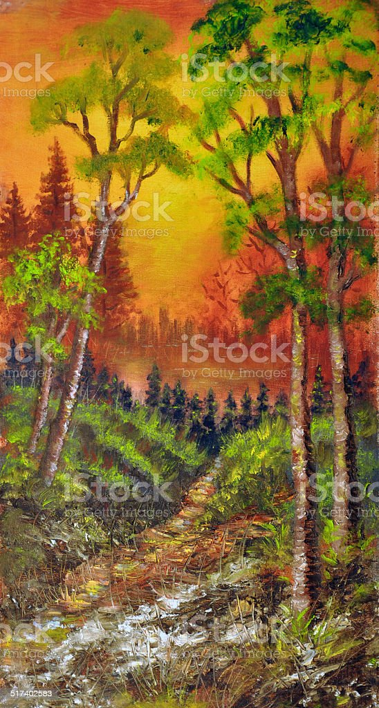 Oil painting on canvas- wood path to the lake vector art illustration