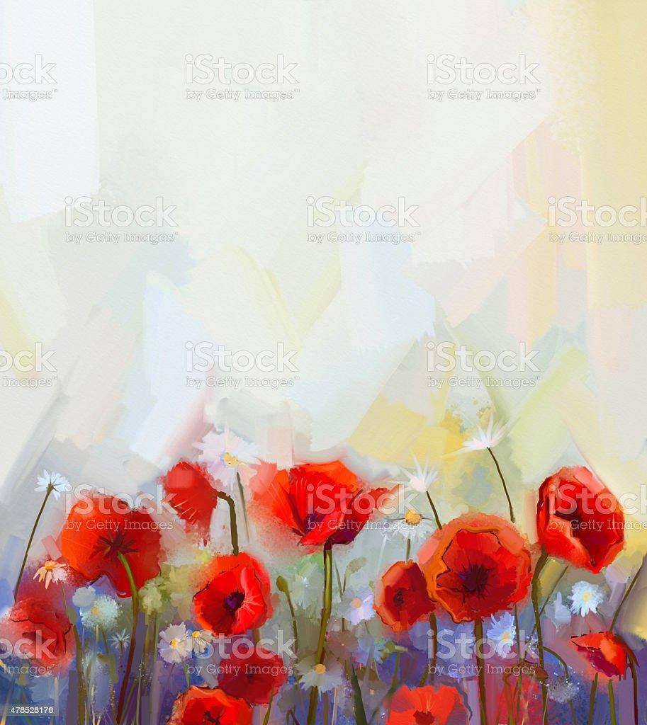 Oil painting red poppy flowers. vector art illustration