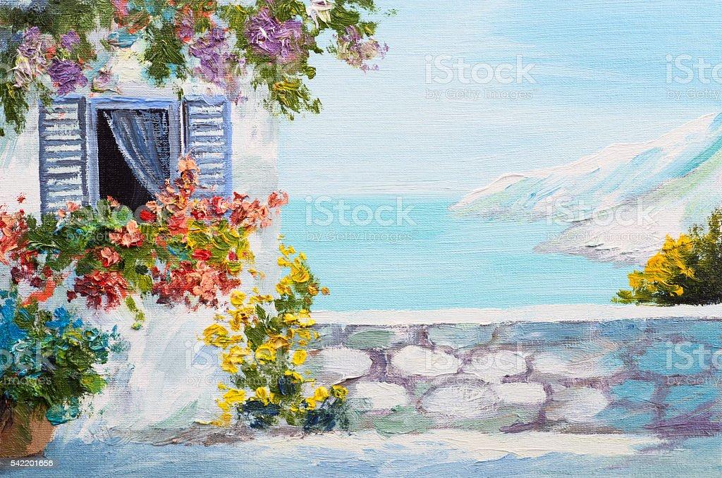 oil painting - Santorini, house near the sea, seaboard; seacoast vector art illustration