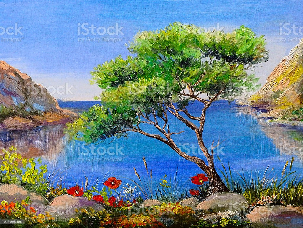 Oil painting - seashore, trees, mountains at sunset, sea landscape vector art illustration