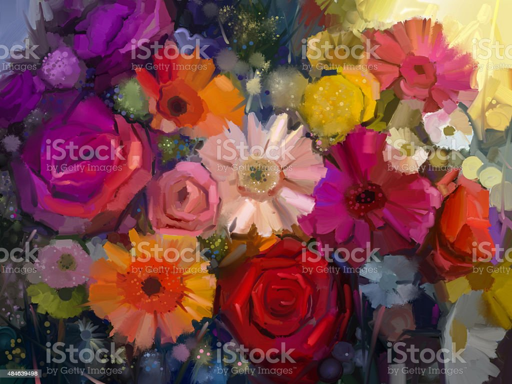 Oil Painting. Still life color flowers vector art illustration