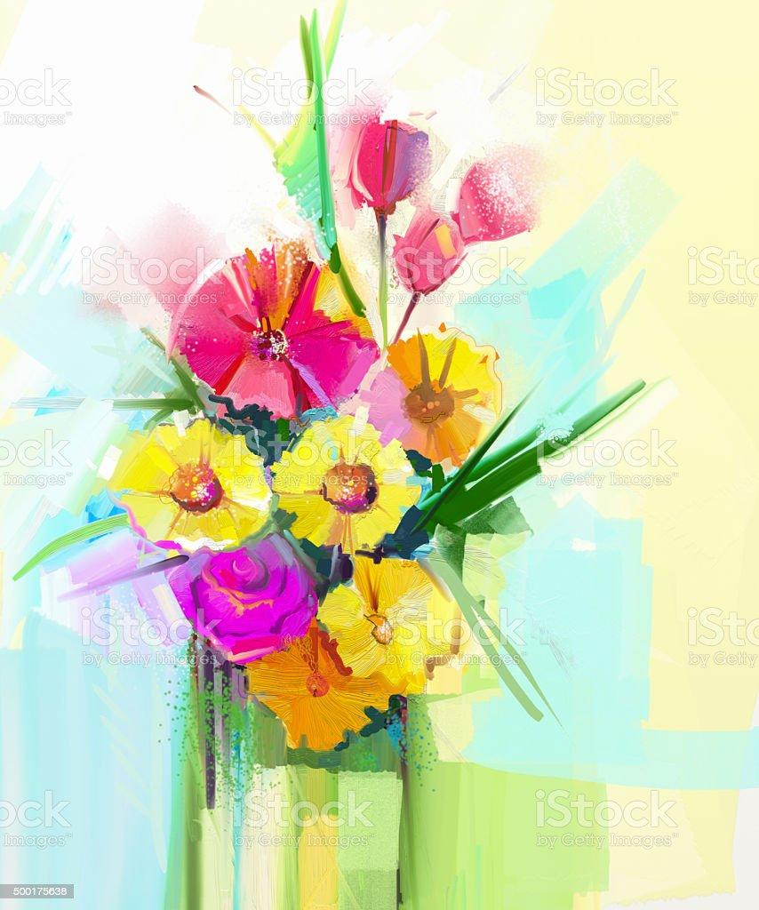 Oil painting still life of bouquet gerbera,tulip,rose flowers vector art illustration