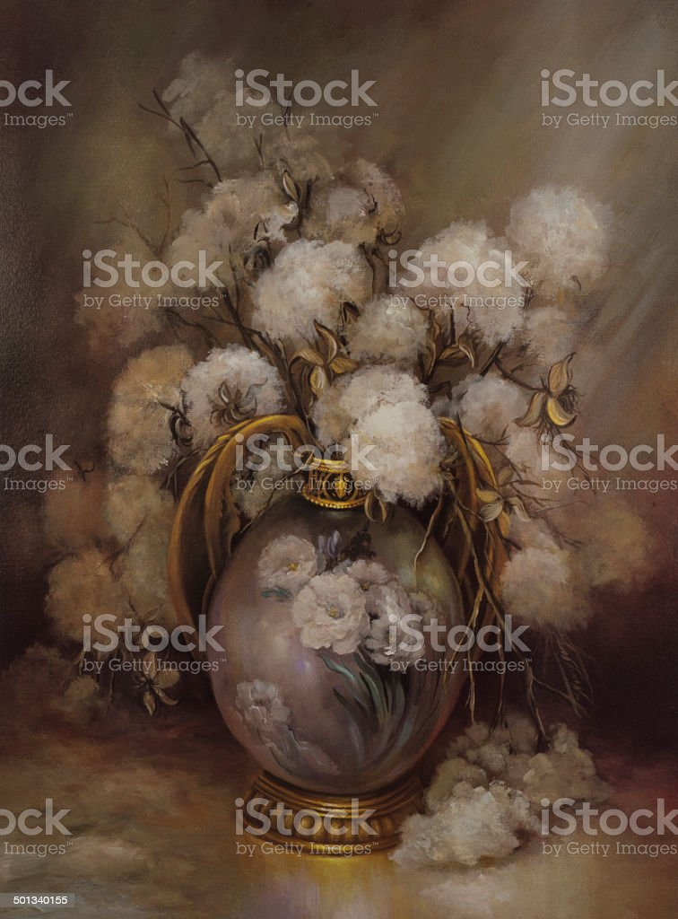 Oil Painting Still Life Of Carolina Cotton Gold Leaf Vase vector art illustration