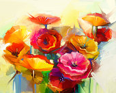 Oil painting Still life of yellow, pink and red poppy