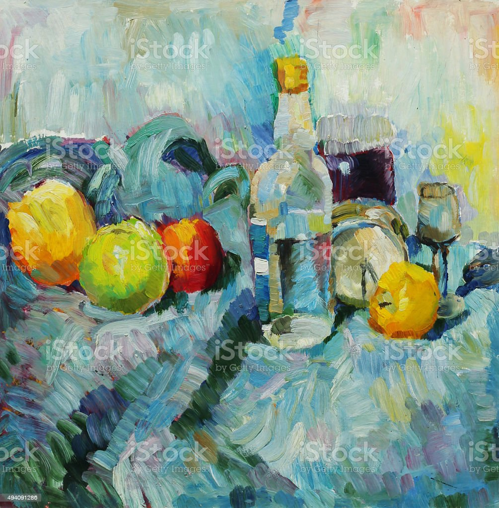 Oil painting. Still life with bottle royalty-free stock vector art