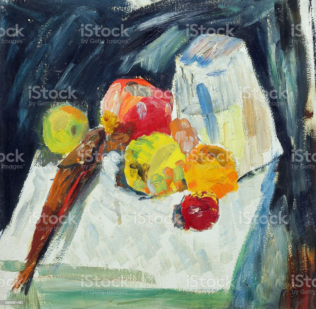 Oil painting. Still life with fish and apples royalty-free stock vector art