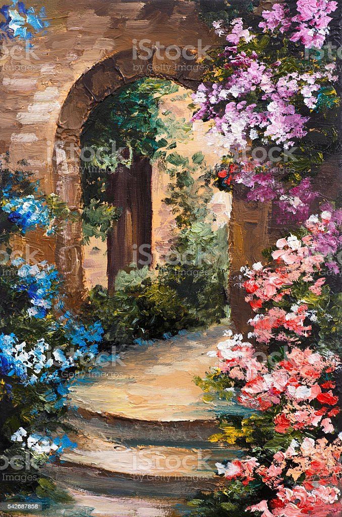 oil painting - summer terrace, colorful flowers in a garden vector art illustration