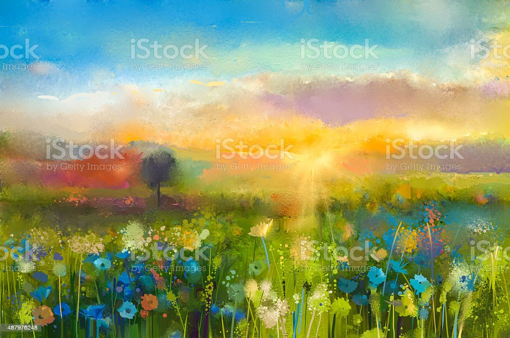 Oil painting  Sunset  meadow landscape with wildflower vector art illustration