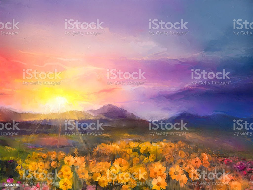 Oil painting yellow- golden daisy flowers in fields vector art illustration