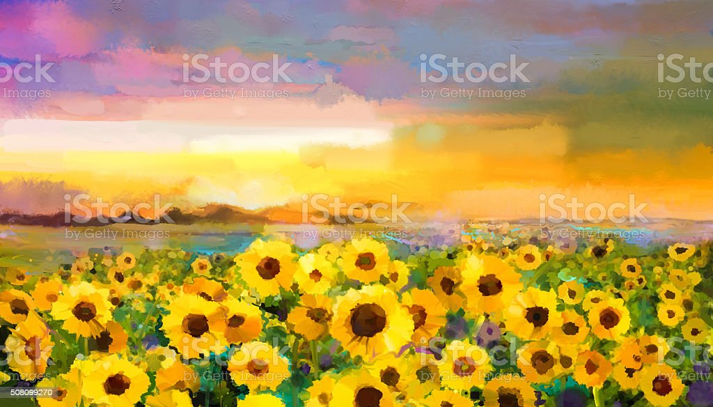 Oil painting yellow- golden Sunflower, Daisy flowers in fields. vector art illustration
