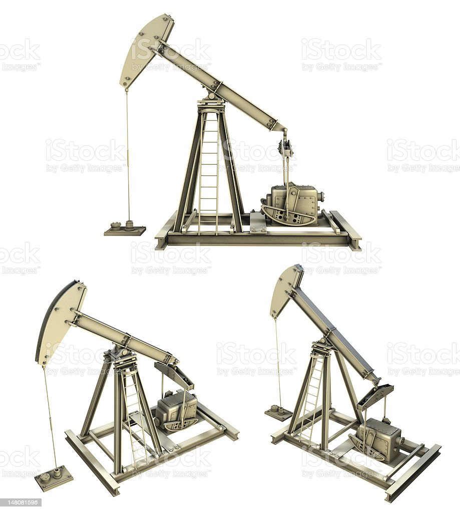 Oil pumps 3D isolated on white vector art illustration