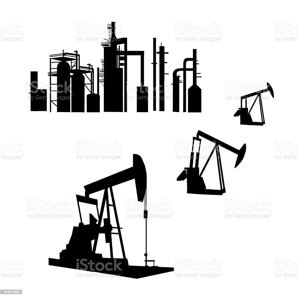 Oil Refinery vector art illustration
