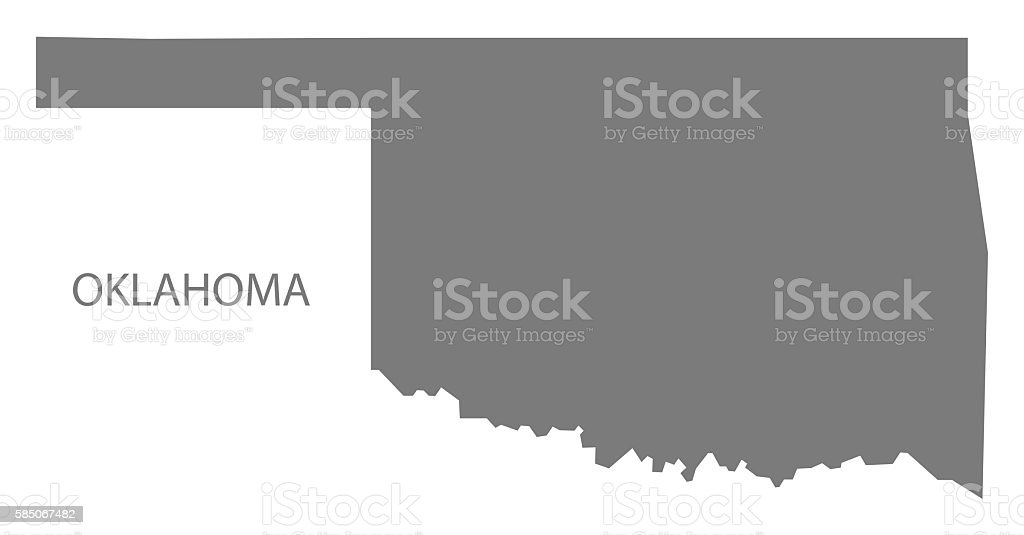 Oklahoma USA Map grey vector art illustration