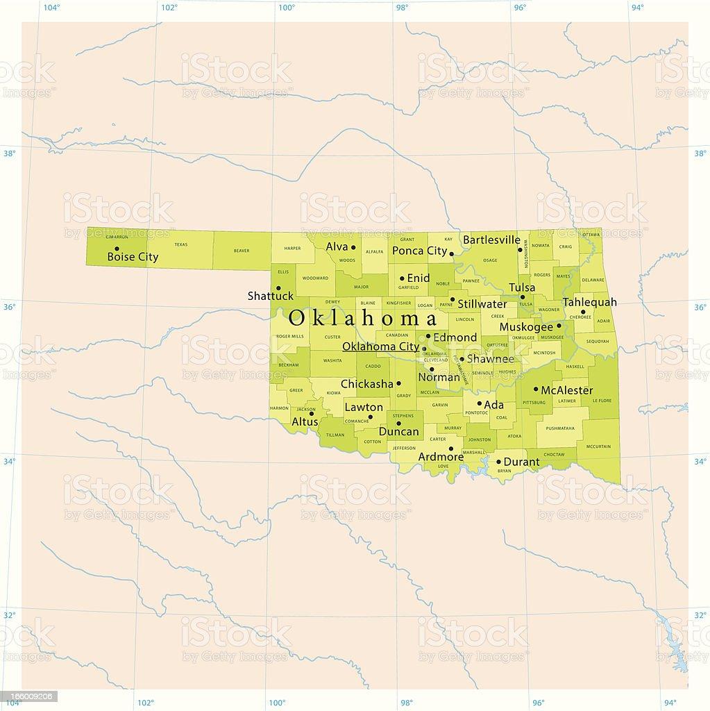 Oklahoma Vector Map vector art illustration