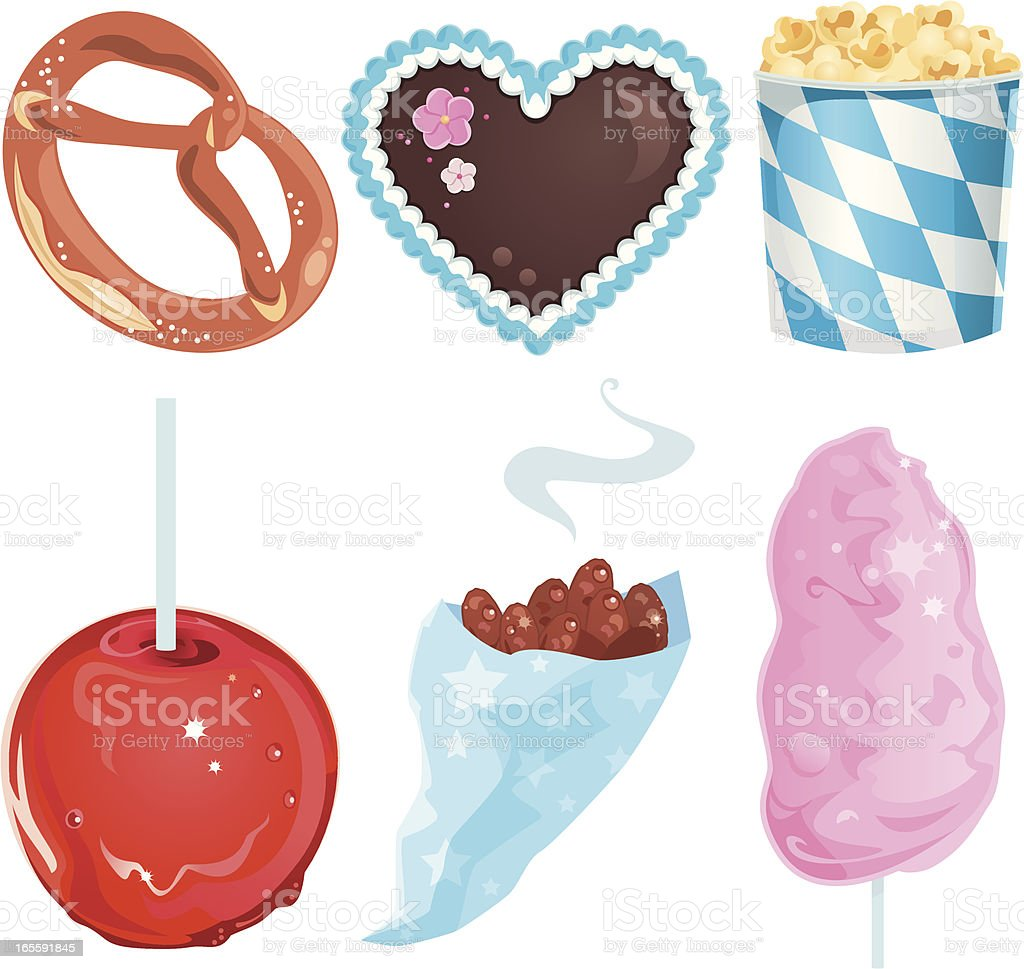 Oktoberfest Food with Lebkuchenherz and Cotton Candy vector art illustration