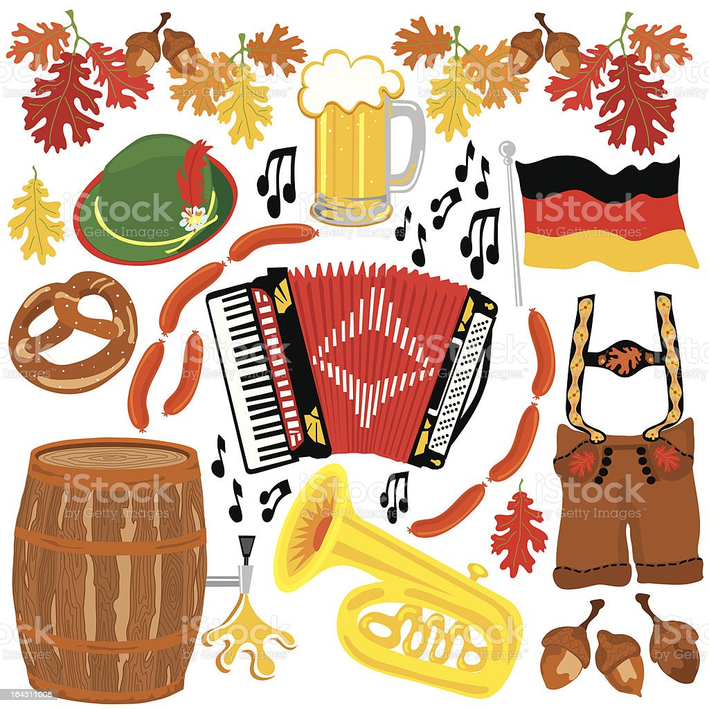 Oktoberfest party clipart elements royalty-free stock vector art