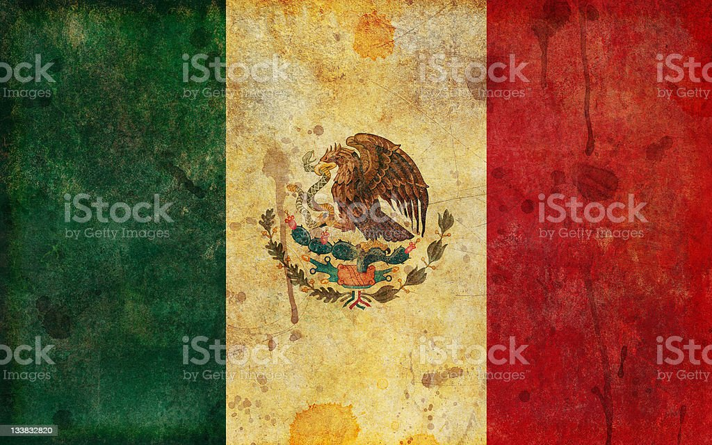 Old, Aged and Worn Grunge Flag of Mexico royalty-free stock vector art