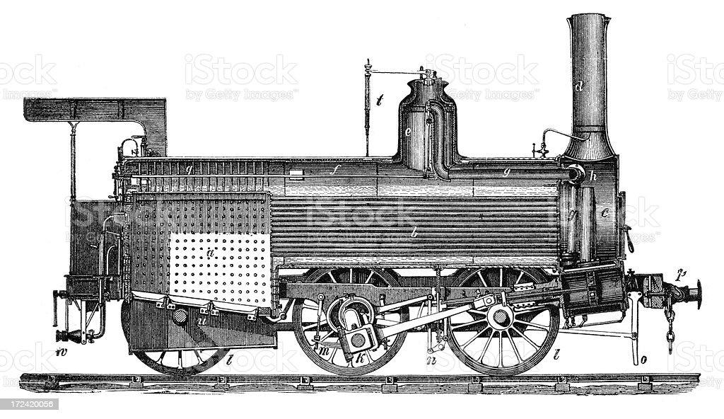 Old Belgian Locomotive royalty-free stock vector art
